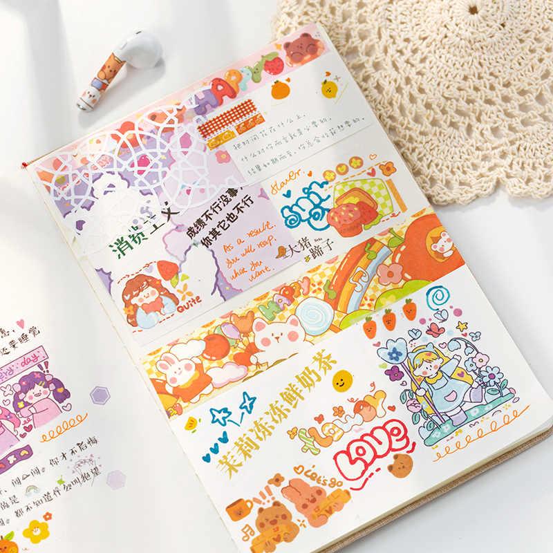 אגדה צבעונית העיר Kawaii מתכנן Handbook דקורטיבי Washi מיסוך קלטת כתיבה קוריאנית ציוד אלבום מדבקות