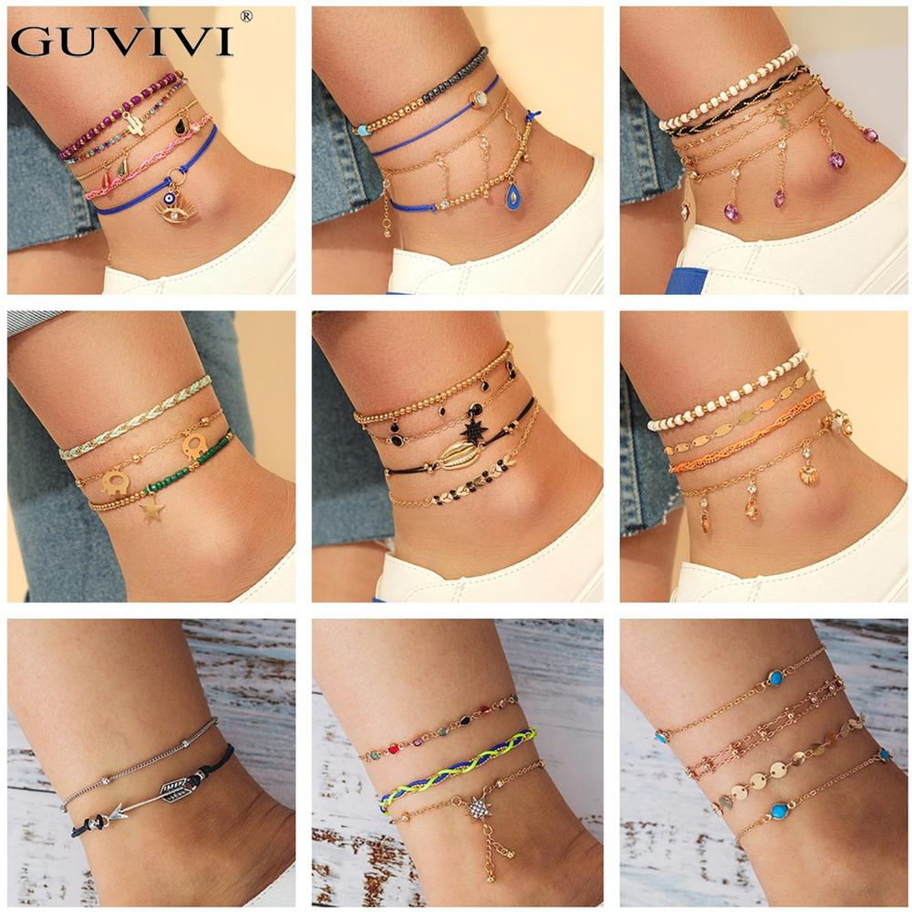 Layered Boho Charm Anklets Set Gold Color Shell Flamingo Pendant Chain Ankle Bracelets Women Leg Foot Jewelry Accessories Gift