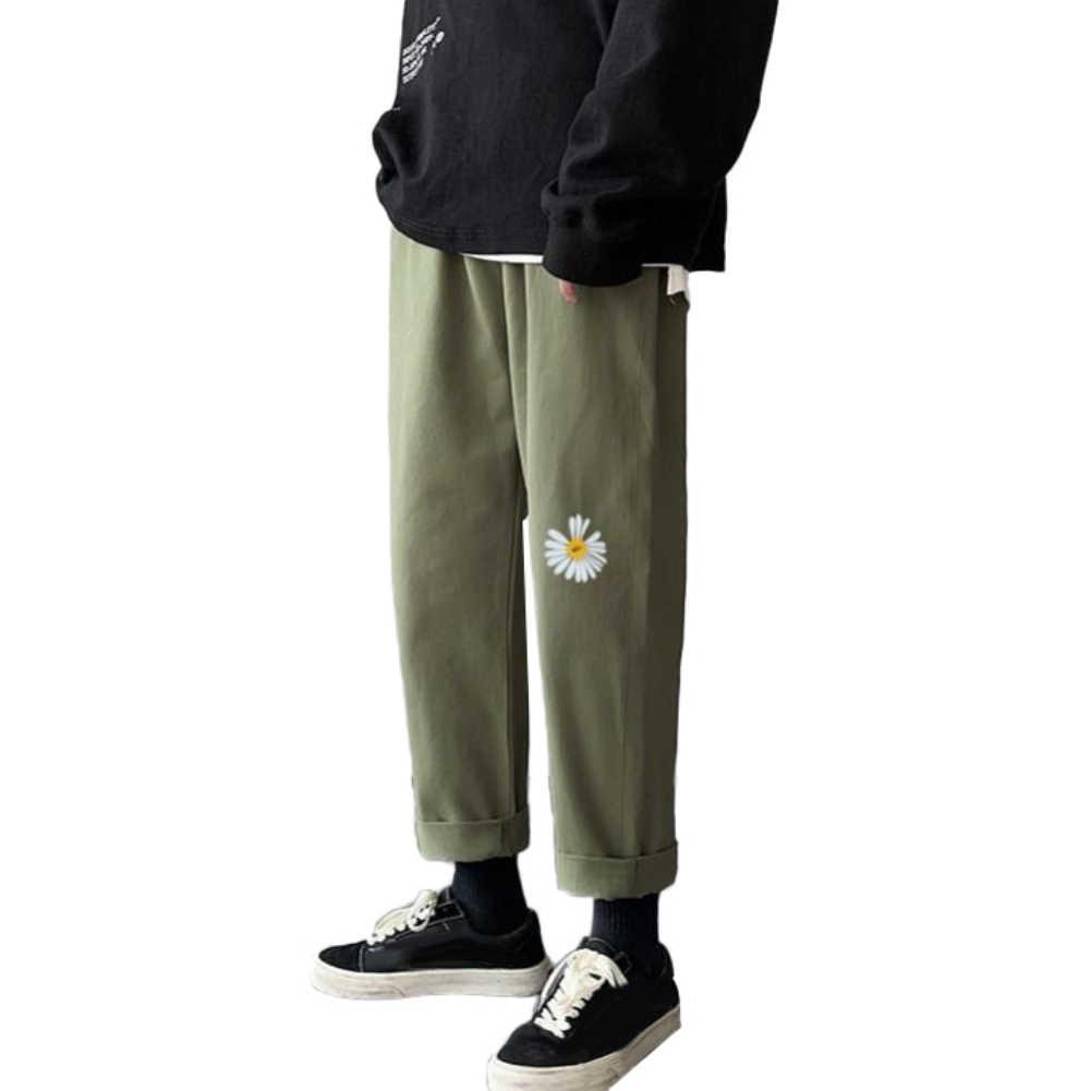 ファッション男性マーガレット通気性ストレート長ズボン巾着九ズボンマーガレットプリント着心地
