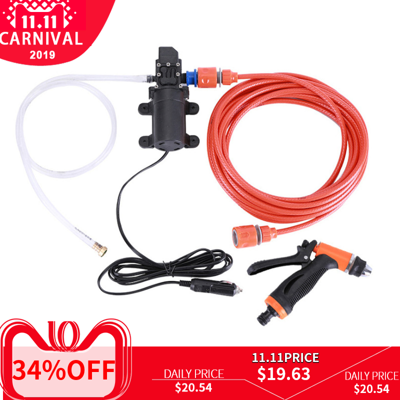 auto car Portable Water saving 12V Car Washer Pump High Pressure Cleaner Washing Machine Electric Cleaning Auto Device wash gun-in Water Gun & Snow Foam Lance from Automobiles & Motorcycles