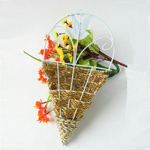 1PC Wall Hanging Natural Wicker Flower Basket Flower Pot Planter Rattan Vase Basket Garden Wall Decoration Storage Container