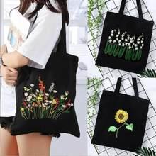Mulheres diy flor bordado bolsa de ombro único bolsa lona ponto cruz kit livro sacos de compras armazenamento