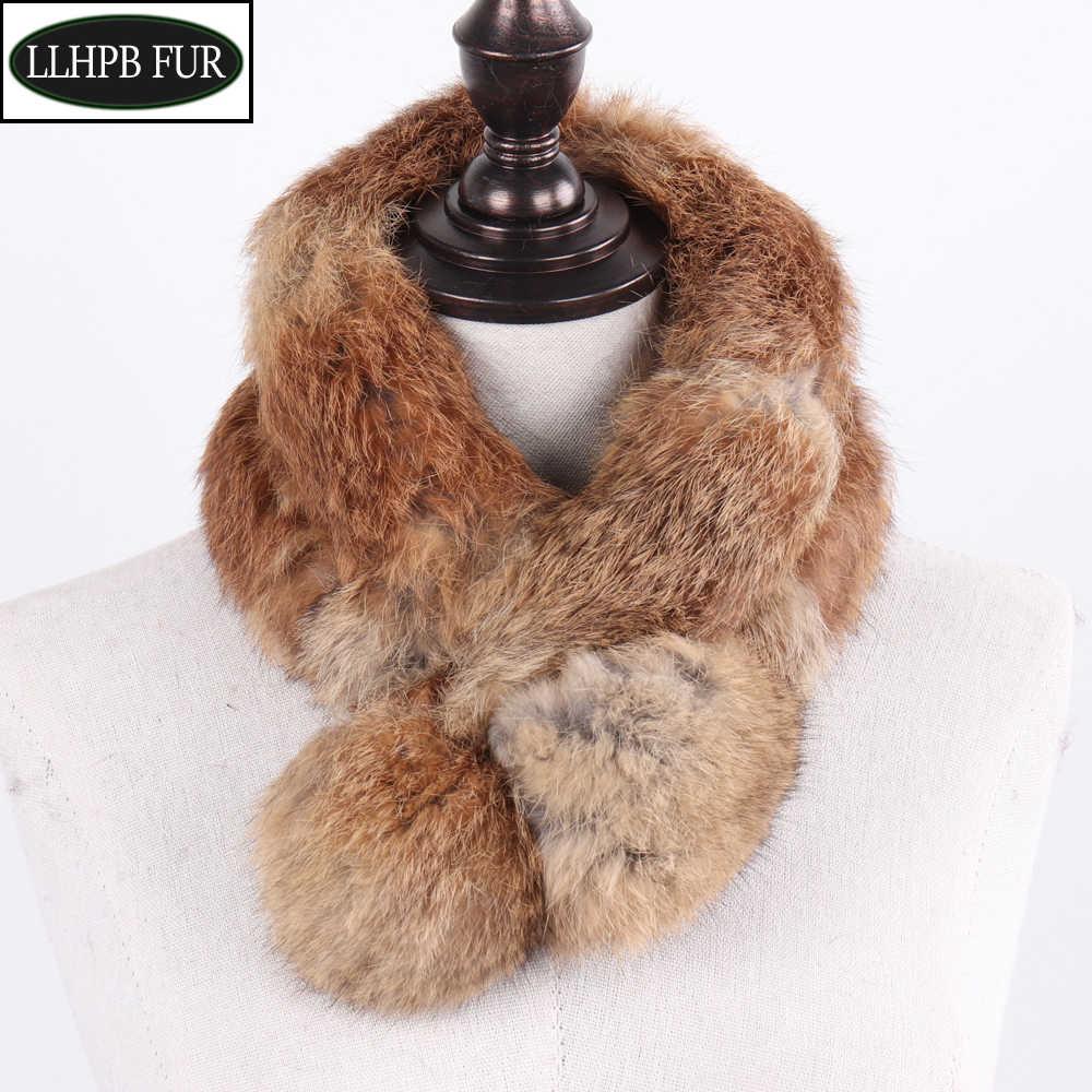 Womens Lady Winter Warm Genuine Rabbit Fur Neck Shawl Scarf Wrap Stole Pashmina