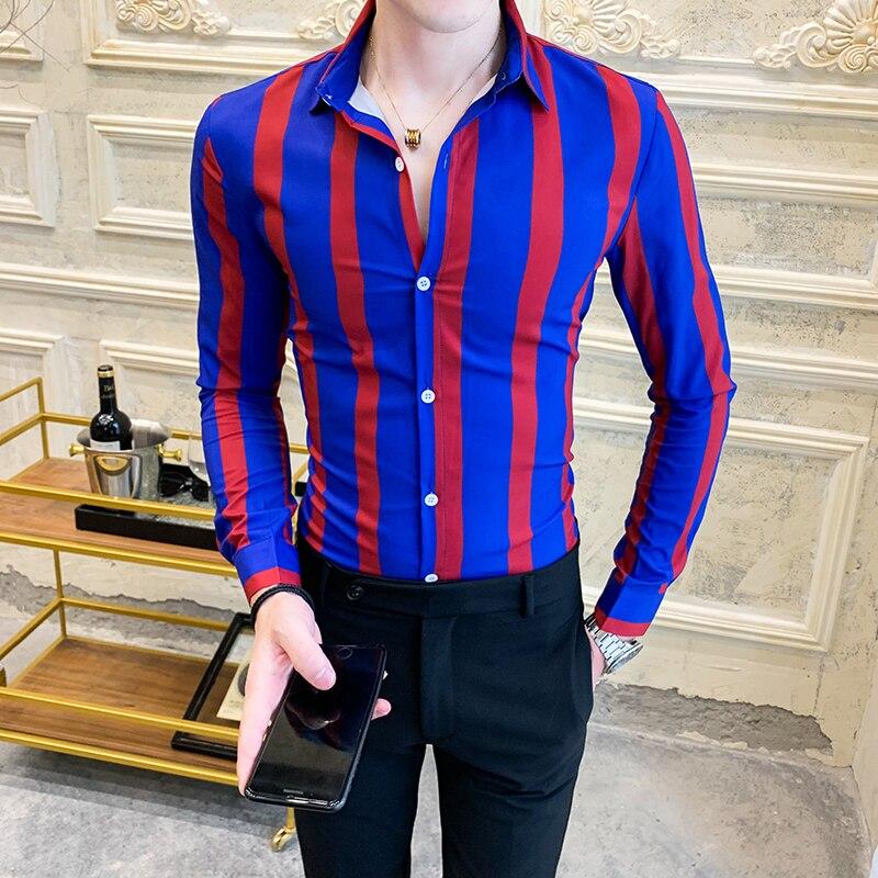 Striped Men's Shirt Dress Business Casual Shirts Long Sleeve Slim Fit Men Shirt 2019 Autum Tuxedo Social Shirts Male Clothing
