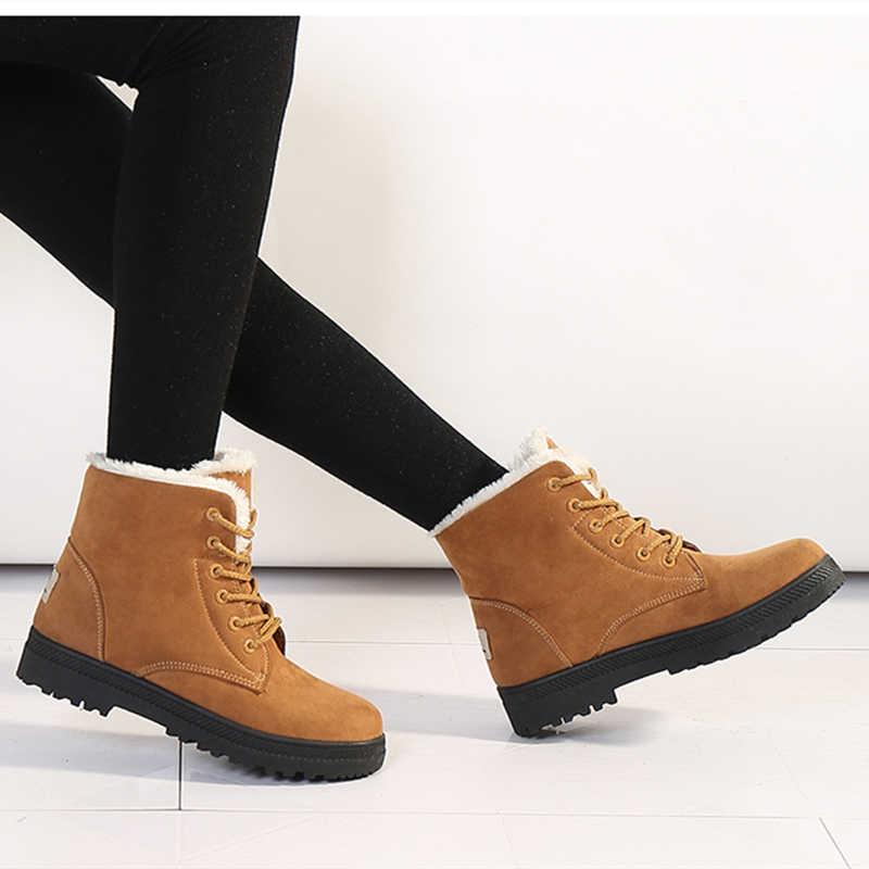 Kadın kar botları kış sıcak peluş astarı kare topuk yarım çizmeler dantel-up rahat akın kadın ayakkabı artı boyutu 44
