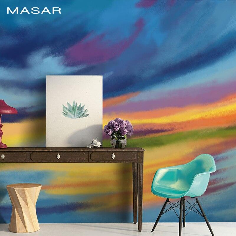MASAR Vinyl Non-woven Custom Abstract Watercolor Mural Living Room Study Background Wallpaper Color Wallpaper Lake Light