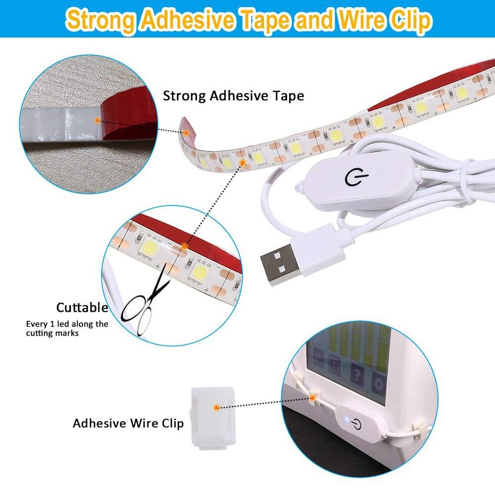 Imperméable à l'eau 30cm 50cm USB alimenté Machine à coudre kit de bande LED avec variateur tactile Machine industrielle fonctionnant LED lumières 3