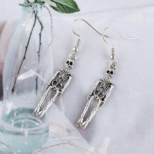 Модные Винтажные висячие серьги с черепом и скелетом для женщин, ювелирные изделия, вечерние серьги ручной работы для свадьбы, трендовые ве...