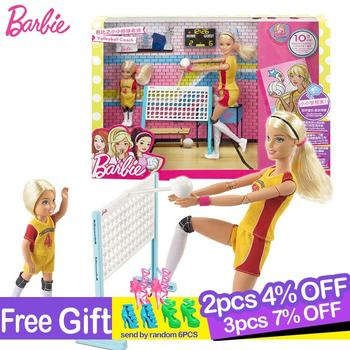 цена на Original Barbie Doll Little Volleyball Teacher Sport Fashion Girls Gift The Kids Birthday Present Girl Boneca Toys for Children