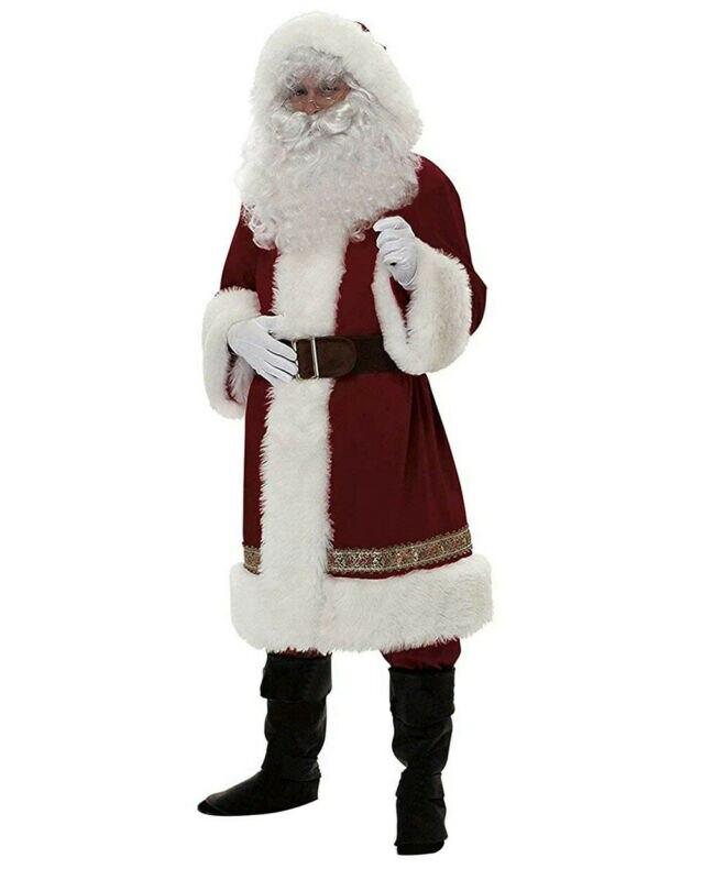 XL Adult Santa Claus Fancy Dress Costume Father Christmas Deluxe Santa Suit S