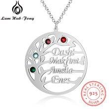 925 prata esterlina nome personalizado colar árvore da vida colar personalizado birthstone cor do ouro jóias finas presente do dia das mães