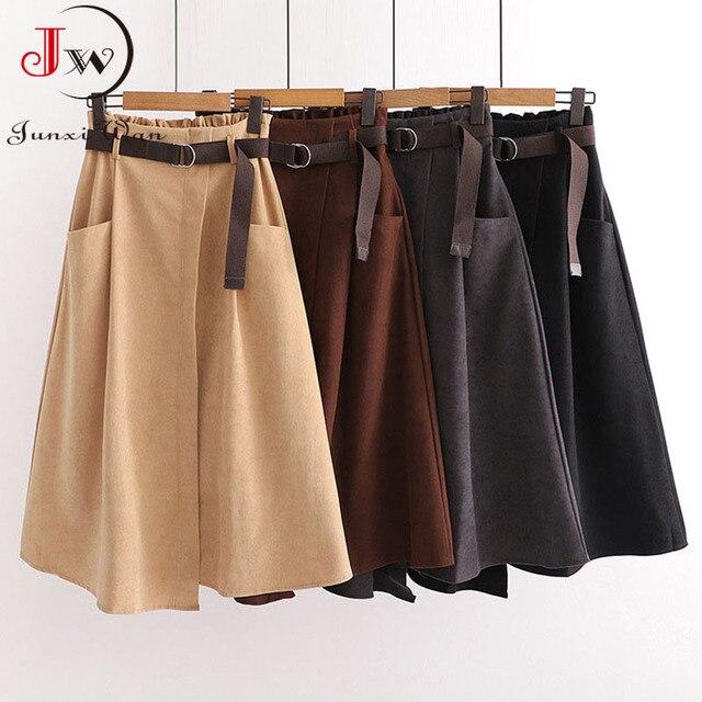 Women Casual Skirts 2021 Spring And Autumn Solid High Waist Irregular Pockets Midi Skirts Fashion Simple Elegant Saia Faldas 3