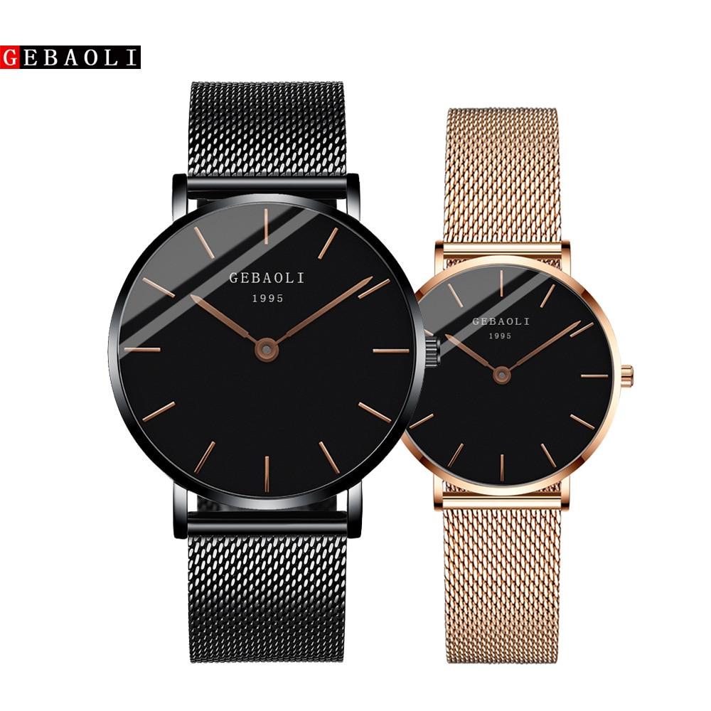 New Couple Watch Stainless Steel Luxury Men Women Quartz Watch Automatic Date Week Luminous Leather Lovers Wrist Watches FD3265