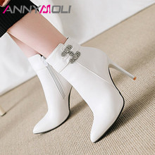 ANNYMOLI Winter Ankle Boots Women Rhinestone Stiletto High Heel Short Boots Zip Pointed Toe Shoes Ladies Autumn Plus Size 34-43 annymoli winter ankle boots women rhinestone stiletto high heel short boots zip pointed toe shoes ladies autumn plus size 34 43