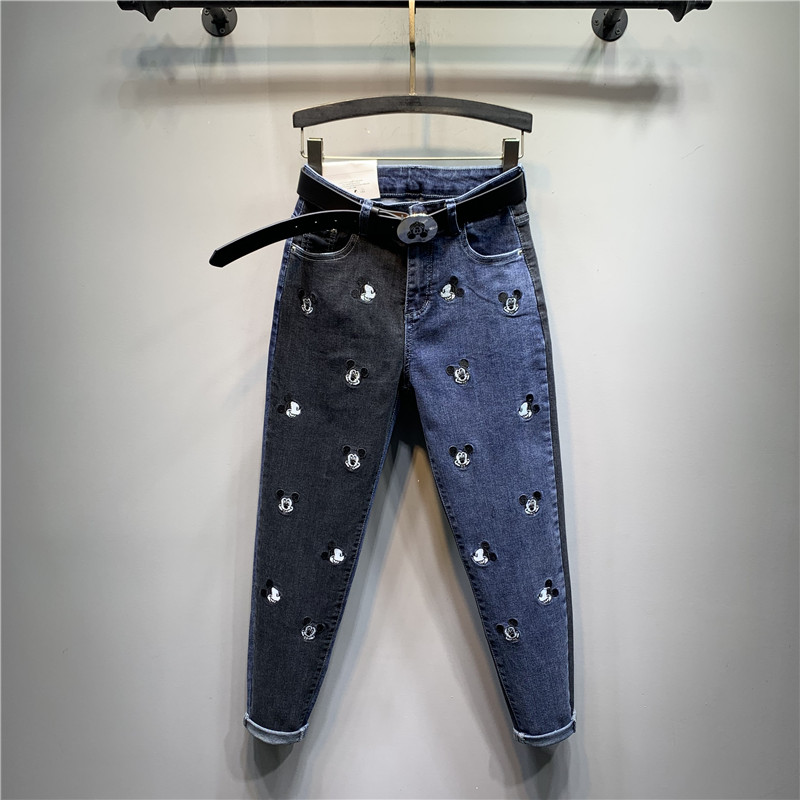 Spring/summer 2020 New Heavy Cute Mickey Embroidered Jeans Personality Student Harem Trouser Women Slim  Denim Pants