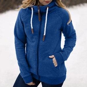 Winter Autumn Women Fashion Solid Color Jacket Zipper Pocket Hooded Sweatshirt Streetwear Long Sleeve Hoodies Tops Outwear#g3