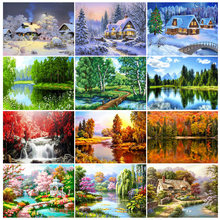 5D DIY Diamond Painting Landscape Full Square/Round Diamond Embroidery Cross Stitch Kit Mosaic Picture Rhinestone Decoration Gif