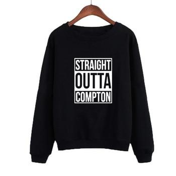 Sudaderas con capucha sudadera con letras estampadas para mujer recta Outta Compton Europa PopRap mujeres otoño Casual Sudadera de cuello redondo chándal