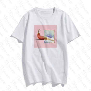New  Cotton T shirt Women Funny Chili Funny Abstract Art Print Short Sleeve Tops & Tees Fashion Casual Brand Unisex Clothing new cotton women t shirt friends tv fashion art fashion artwork print short sleeve tops