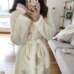Winter Frauen Mit Kapuze Fleece Plüsch Robe Schöne Apricot Farbe Warme Weiche Kapuze Strickjacke Nachtwäsche Einstellbare Taille Flanell Bad Robe