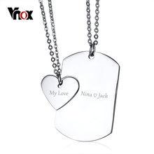 Vnox – collier avec gravure gratuite pour Couple, pendentif en forme de cœur, en acier inoxydable poli, bijoux tendance pour femmes et hommes, chaîne de 20 pouces