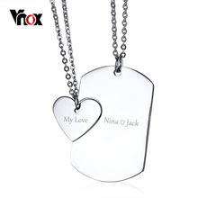 Vnox Free Engrave Couple Necklace ID Dog Tag Heart Pendant High Polished Stainless Steel Trendy Women Men Jewelry 20