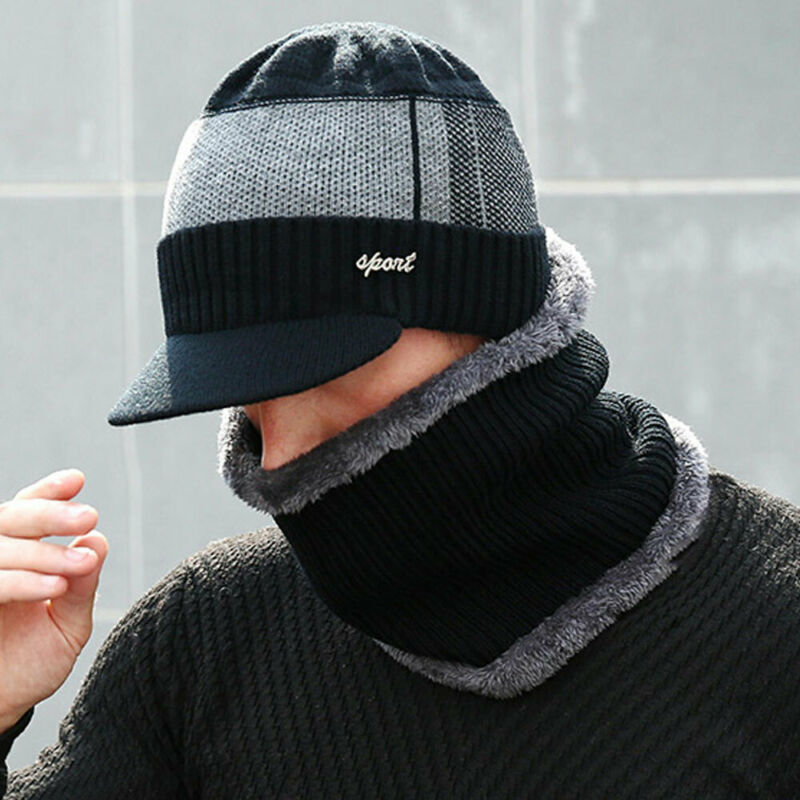 Winter Hat And Scarf Set For Men Ring Scarves Cap With Brim Knitted Visor Beanies Balaclava Adult Bonnet Mask Neck Warmer