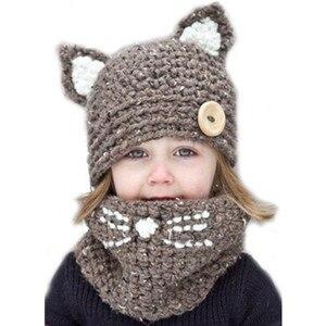Image 1 - ชายหญิงเด็ก Cat หมวกผ้าพันคอสัตว์แมว Earmuffs หมวกเด็กมือถักคออุ่นหมวกฤดูหนาวเด็กทารกเด็กผู้หญิงหมวก