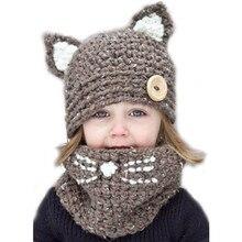 Erkek kadın çocuk kedi eşarp kap hayvan kedi earmuffs çocuk şapka el örme sıcak boyun şapka kış bebek çocuk kız erkek şapka