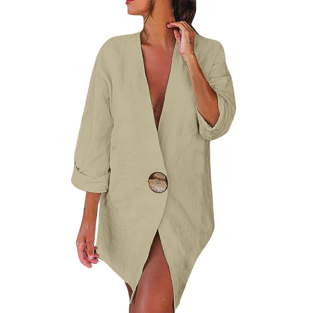 Женская куртка, женские куртки, верхняя одежда, одноцветные пуговицы, длинный рукав, v-образный вырез, хлопок и лен, кардиган, свободный костю...