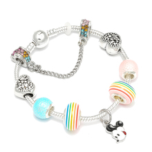Sweet Lovely Rainbow Beads Charm Bracelet with Naughty Mickey Pendant Fit Original Brand Bracelet For Women Fashion Jewelry sweet letter rhinestone pendant bracelet for women
