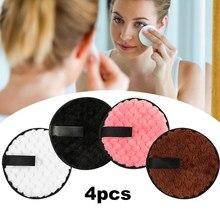 Tampons de nettoyage réutilisables en microfibre, 4 pièces, pour démaquiller le visage, serviettes en coton pelucheux