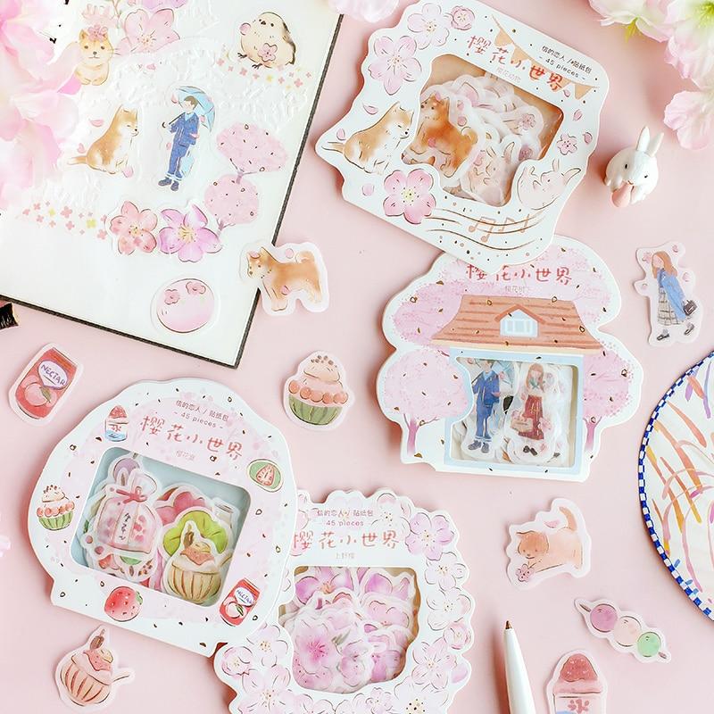 Kawaii Japanese cute cherry blossom sticker pack girl heart character Shiba Inu sticker hand account