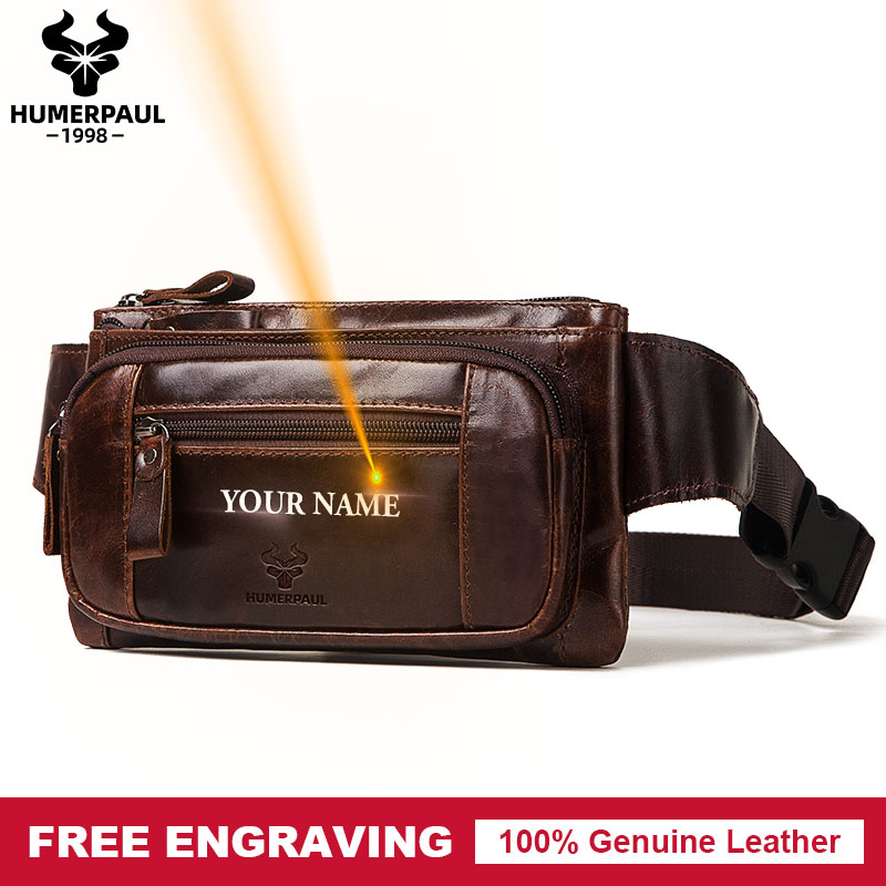 Famous Brand Fashion Men Genuine Leather Waist Packs Organizer Travel Chest Bag Necessity Waist Belt Mobile Phone Small Bum Bag