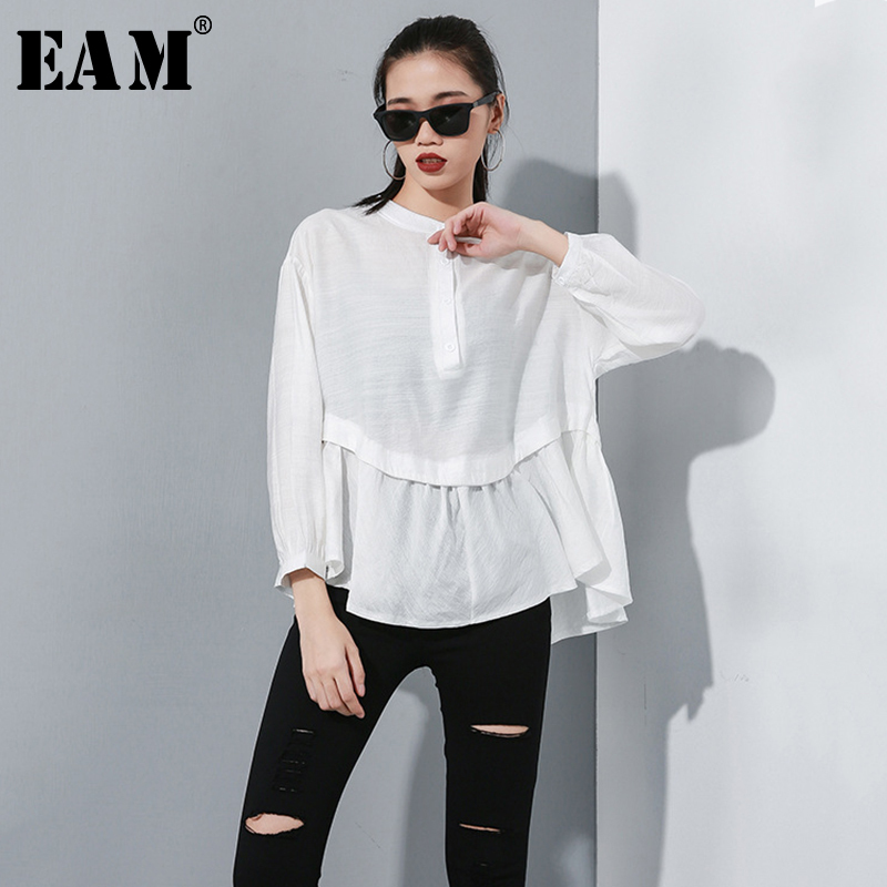 [EAM] Women Spliced Pleated Asymmetric Blouse New Stand Neck Long Sleeve Loose Fit Shirt Fashion Tide Spring Autumn 2019 1A822
