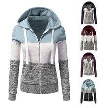 Women Sweatshirts Autumn Winter Hoodies Long Sleeve Hoody Ladies Zipper Pocket Patchwork Hooded Sweatshirt Female Outwear