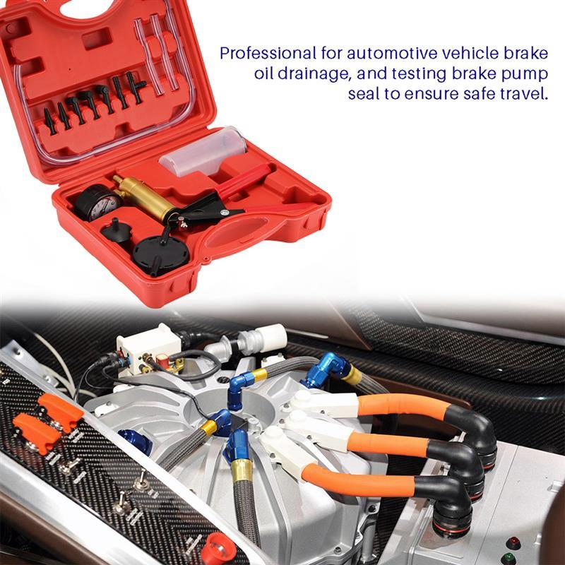 Hand Gehalten Bremsentlüftungs Tester Set Vakuum Pumpe Auto Motorrad Selbst Vakuumpumpe Kits Bremsentlüftungs Schraube Adapter Hohe Qualität