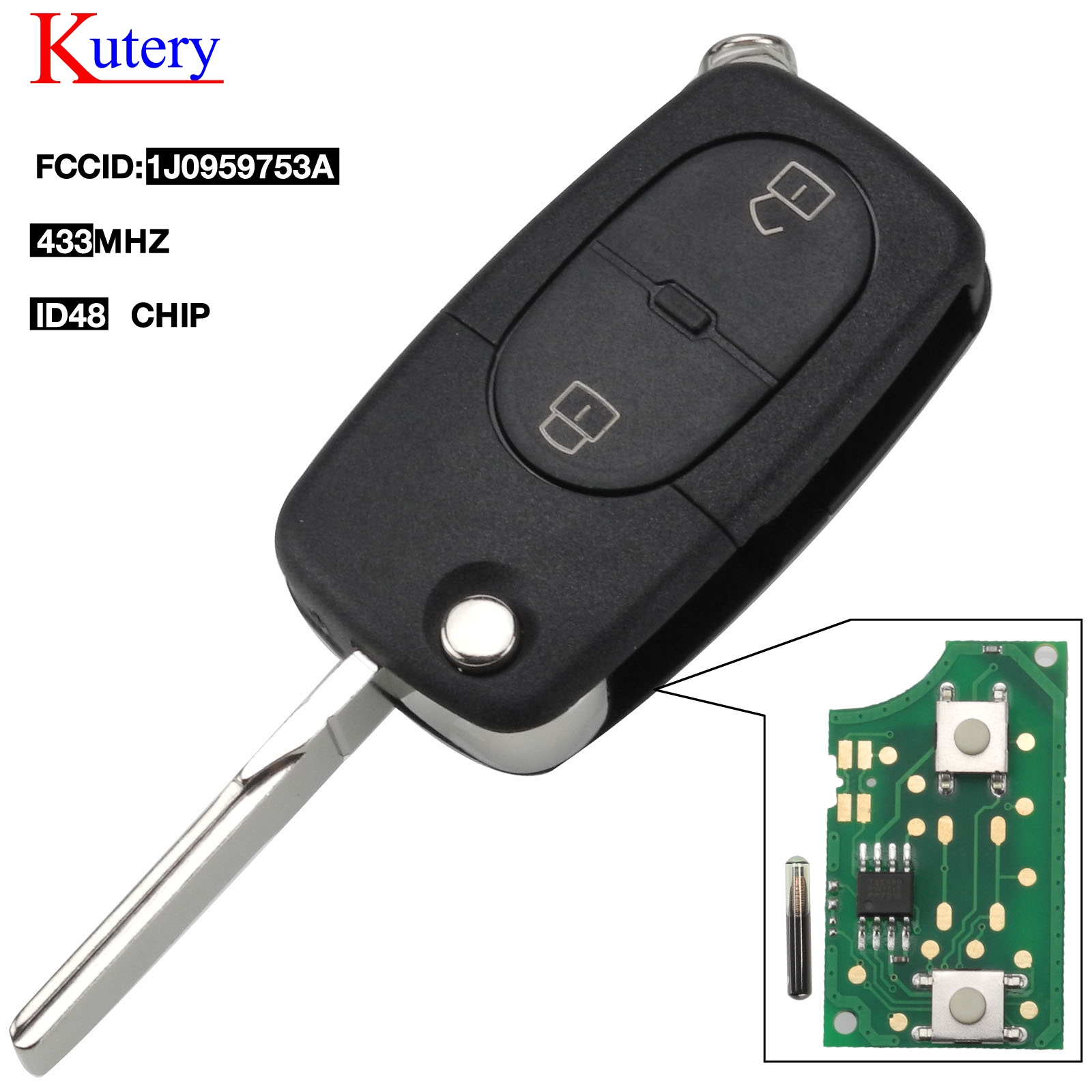 kutery Car Remote Control 1J0959753A  Key 2 Button Smart Transmitter 433Mhz For VW Volkswagen Passat Golf MK4 1J0 959 753 A|Car Key|Automobiles & Motorcycles - title=