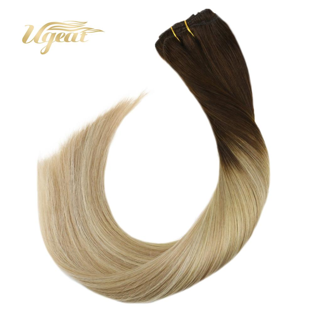 Ugeat Clip In Full Head Human Hair Extensions Thick End Clip Ins 14-24
