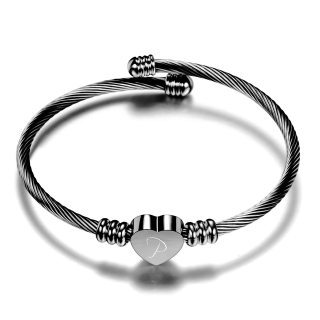Free Engrave Initial Alphabet Heart Cuff Bangles Women Jewelry Stainless Steel Letter Bangle For Gifts 5