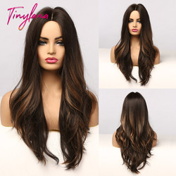 TINY LANA Synthetic Ombre Black Brown with Golden Highlights Wigs Long Wavy Heat Resistant Middle Part Cosplay Wigs for Women