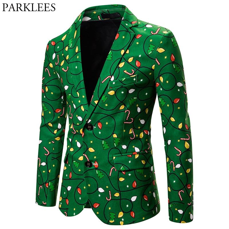 Merry Christmas Green Blazer Jacket Men 2019 Fashion Candy Cane Print Casual Blazers Mens Stage Party Prom Xmas Blazer Masculino