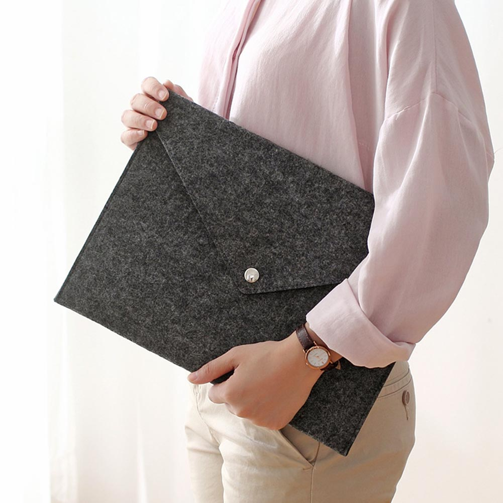 Simple Solid A4 Big Capacity Document Bag Business Briefcase File Folders Felt Filing Bags New