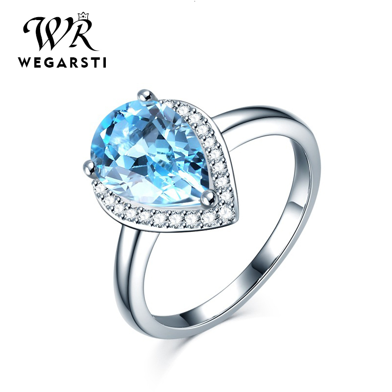 WEGARASTI Silver 925 Jewelry Ring Woman Aquamarine Water Drop Trendy Classic 925 Sterling Silver Ring Jewelry Wedding Engagement