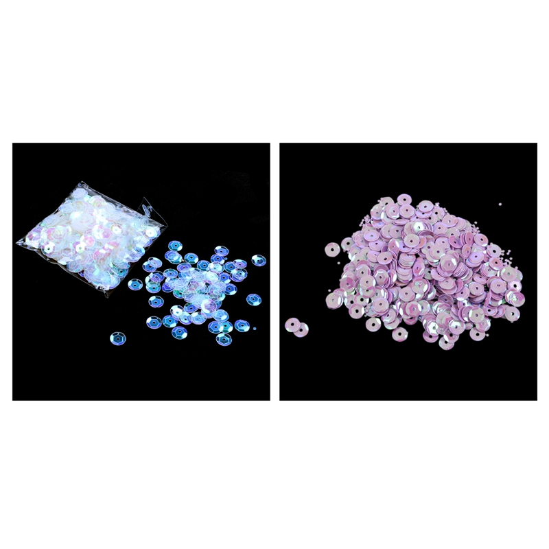 800 Pieces Round Cut Sequins Sequins Seeds DIY Sewing Decoration - Purple & White