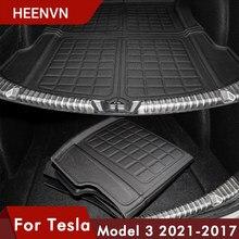 Heenvn Model3 estera de maletero de coche Tesla modelo 3 2021 de carga trasera bandeja maletero protector impermeable almohadillas Interior tres