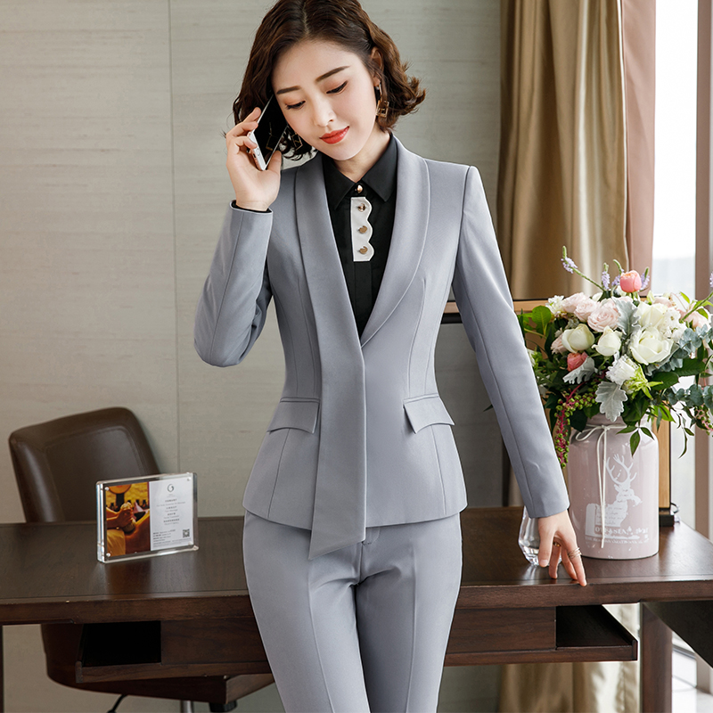 Lenshin Formal Asymmetrical Gray Pant Suit for Women Work Wear Office Lady Elegant Style Business Jacket with Pants Sets 21