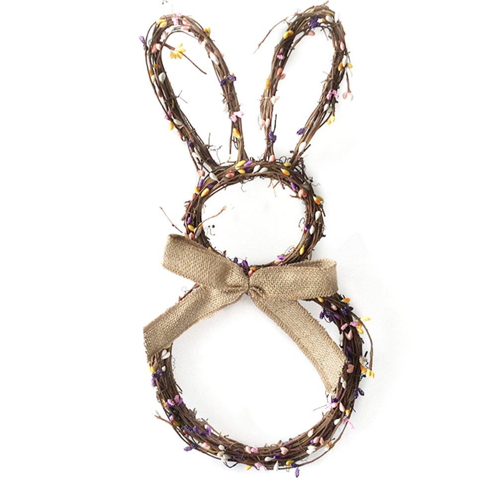 Rabbit Garland Wreath Creative Handmade Rattan Pendant Christmas Easter Door Hanging Garland Holiday Home Decorations