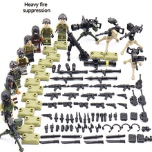 8PCS Heavy fire suppression Weapons gun Original Block Toy Swat Police Military City Accessories Compatible Mini Figures