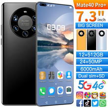 7.2 inch 4G 5G Ultra Mobile Phone Mate40 Pro+ 5000mAh Android 10.0 16GB 512GB Dual SIM Card Touch Screen Featured Smartphone